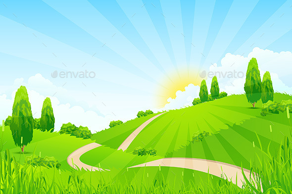 Green Landscape with Trees and Road