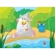 Cat Fishing on the River - GraphicRiver Item for Sale