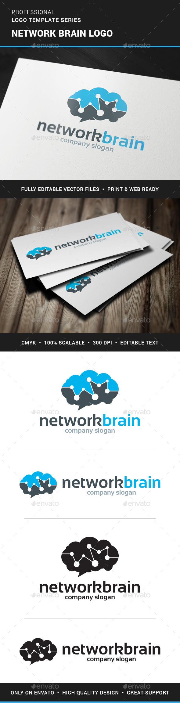 Network Brain Logo Template