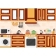 Kitchen With Appliances And Utensils. Flat Style - GraphicRiver Item for Sale