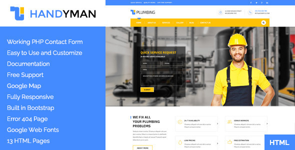 Handyman: Construction, Building &a Plumbing HTML Template