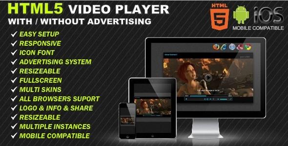 HTML5 Responsive Odtwarzacz wideo i reklama