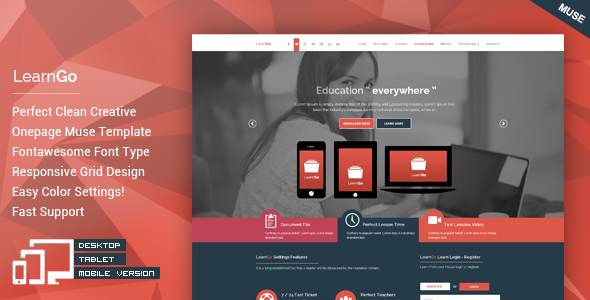LearnGo - OnePage Education Muse Template