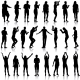 Black Silhouettes Of Beautiful Mans And Womans On - GraphicRiver Item for Sale