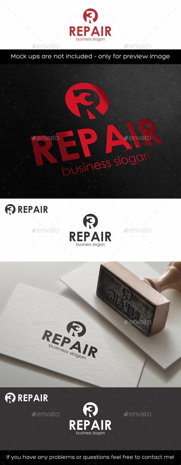 Repair Logo Template R Letter