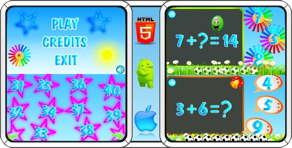 Math Game for Kids - HTML5 Mobile Game (Construct 3 | Construct 2 | Capx) Download