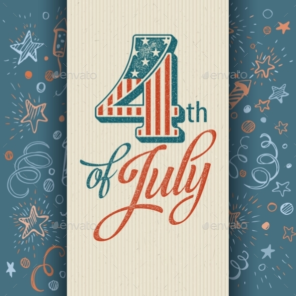 Retro Typography Card Independence Day. Vector