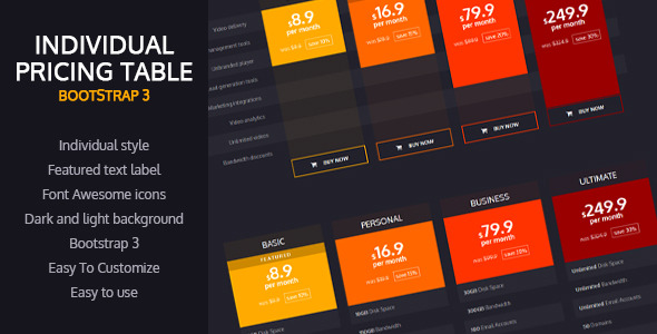 Individual Pricing Table (Bootstrap 3) Download