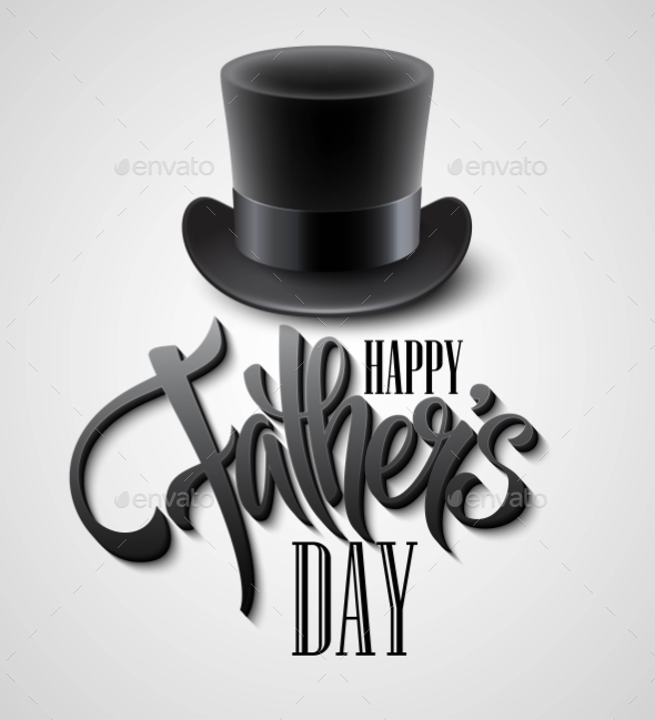 Black Top Hat Isolated On White With Text Happy