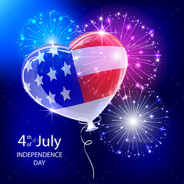 Independence Day Balloon and Firework
