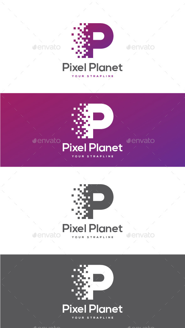 Pixel Planet Letter P Logo