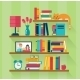 Bookshelves With Books In Room Interior - GraphicRiver Item for Sale