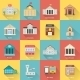 Government Buildings Icons Set With Long Shadow - GraphicRiver Item for Sale