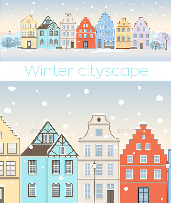 Winter Cityscape with Retro Houses