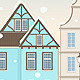 Winter Cityscape with Retro Houses - GraphicRiver Item for Sale