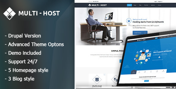 Multi Host - Responsive Server And Vps Drupal 7.6 Theme