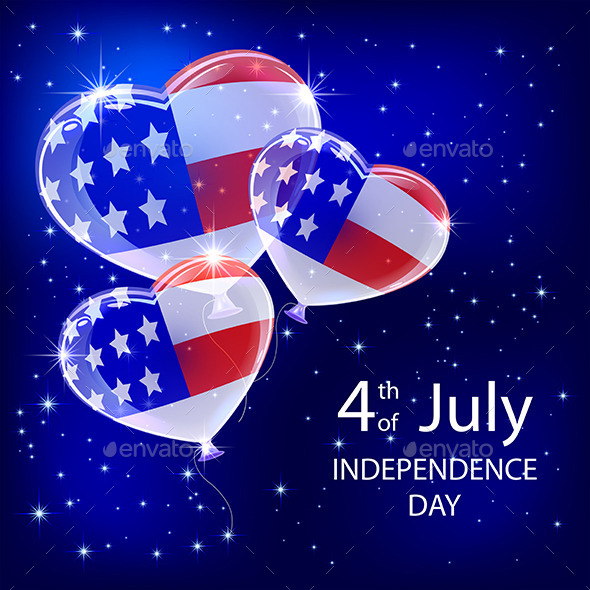 Independence Day Balloons and Stars