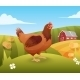Hen Standing On Grass With Farm On Background - GraphicRiver Item for Sale