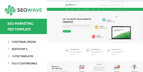 Seo Wave - Marketing PSD Template