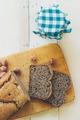 Homemade buckwheat bread and organic jam. Retro colors - PhotoDune Item for Sale