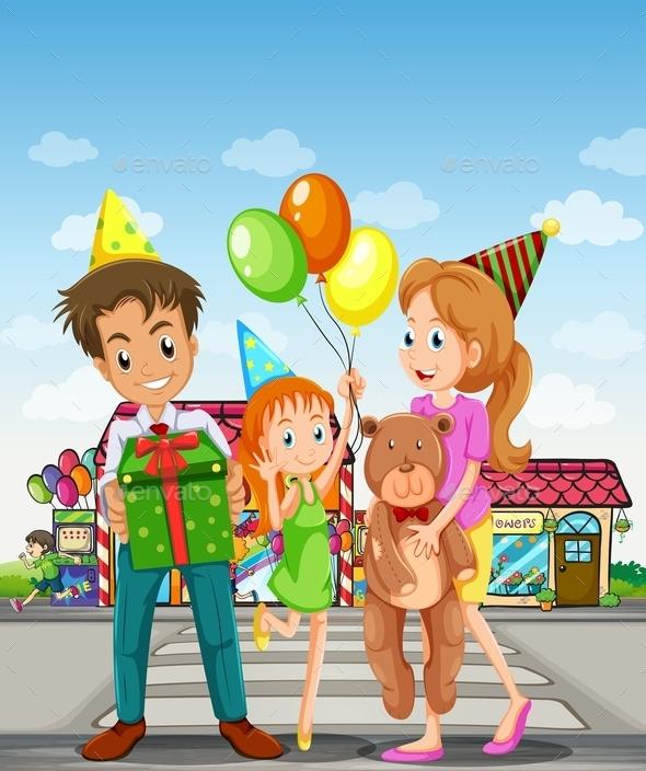 Happy Family in the Pedestrian Lane