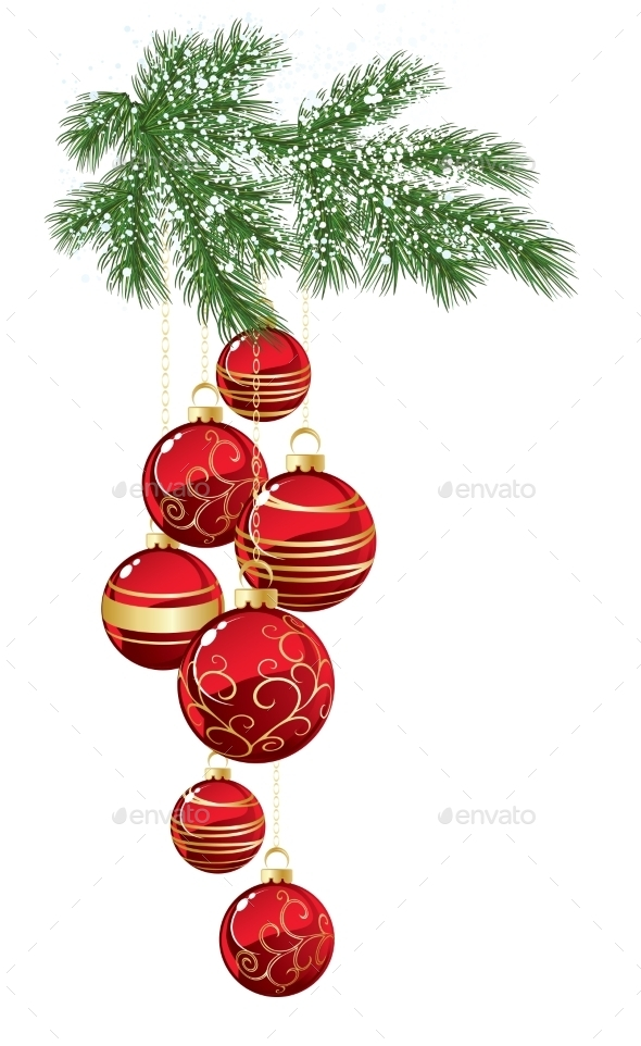 Pine with Red Christmas Bauble