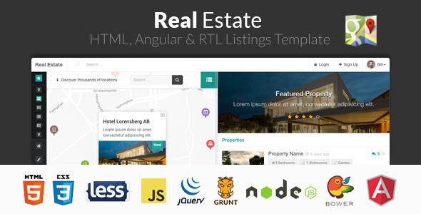 Real Estate - Szablon HTML, Angular i RTL