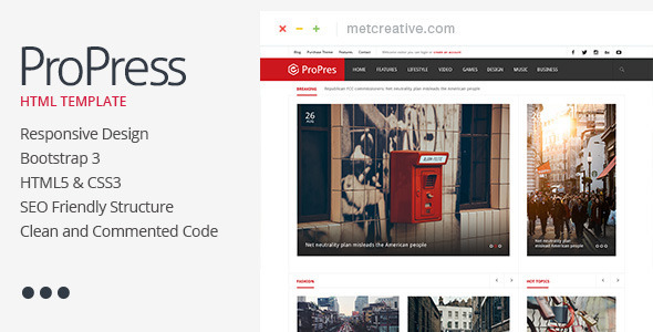 ProPress - Responsive News & Magazine Template