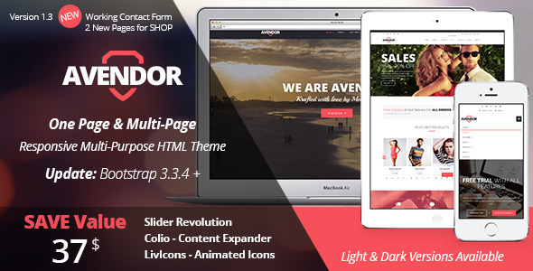 AVENDOR - One Page / Multi Page Multipurpose