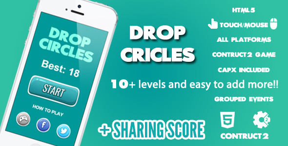 Drop Circles Game + Share Score  Download
