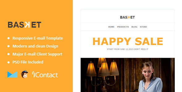 Basket - eCommerce Responsive E-mail Templates +Themebuilder Access