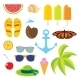 Set Flat Icons Travel And Line Length Summer. - GraphicRiver Item for Sale