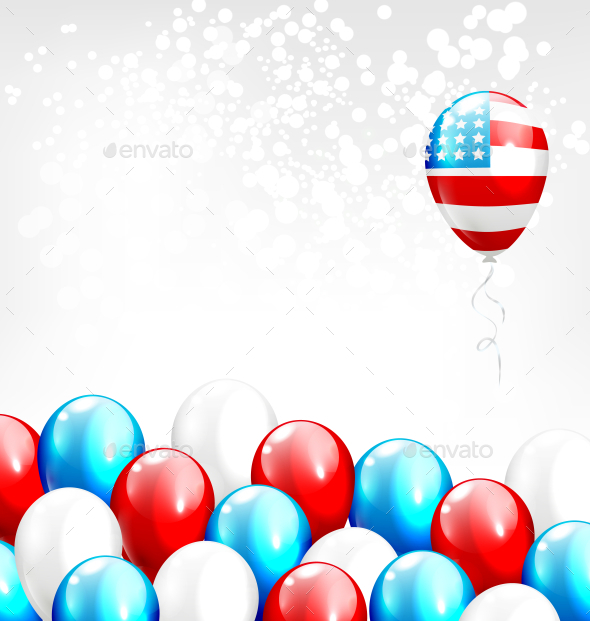 Balloons in National USA Colors on Gray Background