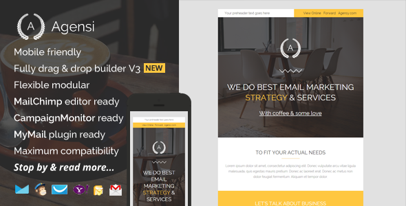 Download Agensi, Modern Email Template with Builder