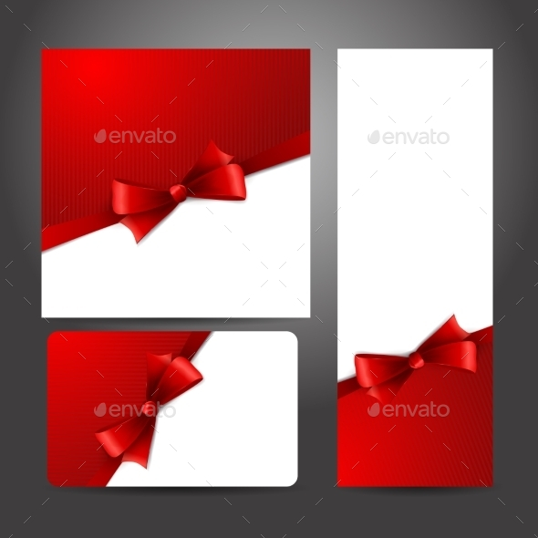 Holiday Gift Card  with Red Ribbons and Bow