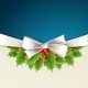 Christmas Background with Ribbon and Holly - GraphicRiver Item for Sale