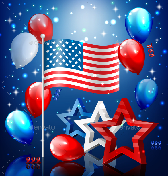 USA Nation Flag with Confetti and Balloons