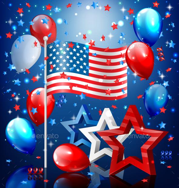 USA Nation Flag with Stars and Balloons