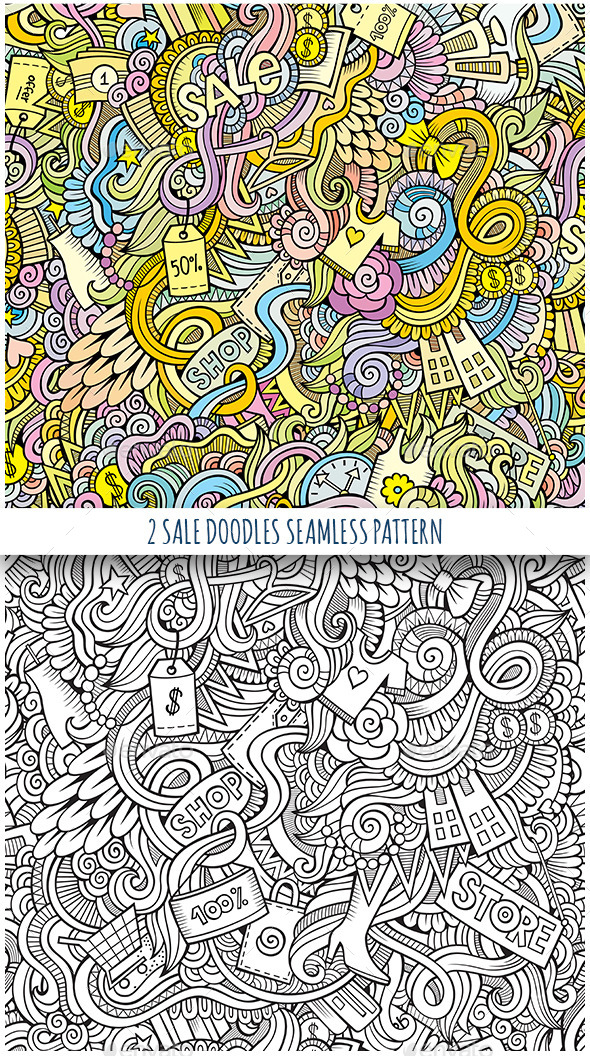 2 Doodles Seamless Sale and Shopping Pattern