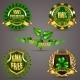 Golden Badges With Laurel Wreath - GraphicRiver Item for Sale