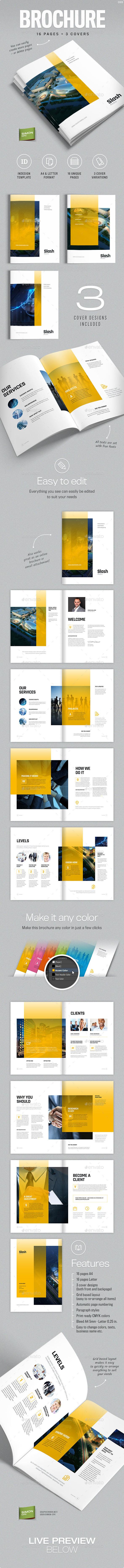 brochure indesign template editable logo business flyer a4 letter pdf - Brochure Template A4 and Letter - Slash Download