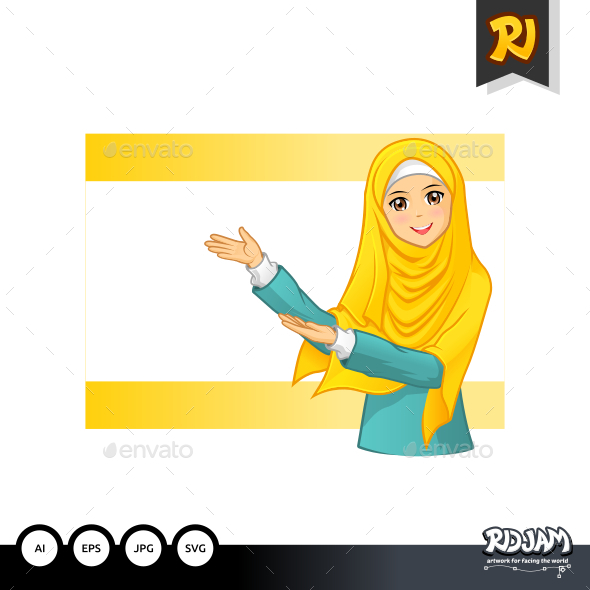 Muslim Woman with Invitation Arms Wearing Yellow Veil