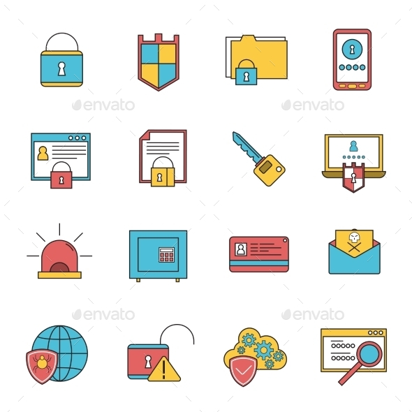 Computer Security Icons Set Line