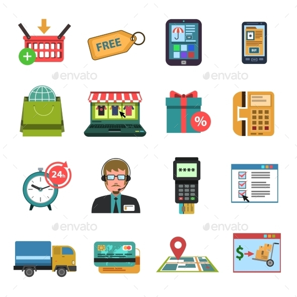 Online Icons Flat