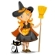 Little Halloween Witch and Black Cat - GraphicRiver Item for Sale