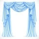 Blue Curtain Draped with Pelmet - GraphicRiver Item for Sale