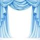Big Blue Curtain Draped with Pelmet - GraphicRiver Item for Sale