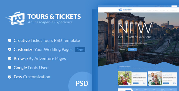 Tours & Tickets - Creative PSD Template