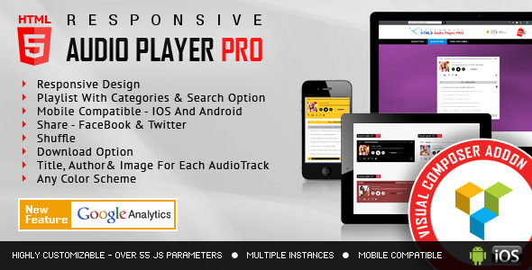 Visual Composer Addon - HTML5 Audio Player PRO for WPBakery Page Builder Download