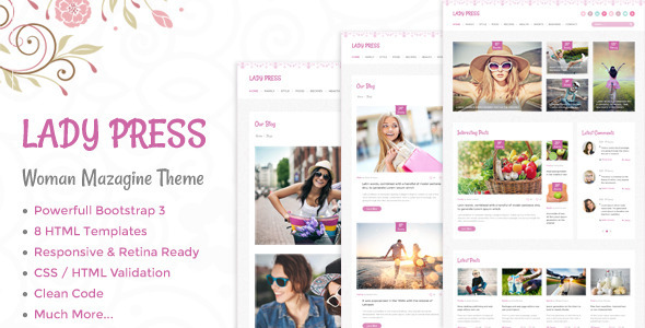 LadyPress – Woman Magazine Blog HTML Template